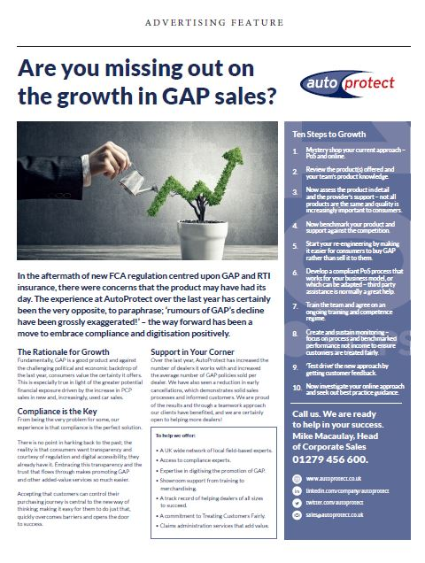 AutoProtect Motor Trader Feature: Are you missing out on the growth in GAP Sales?
