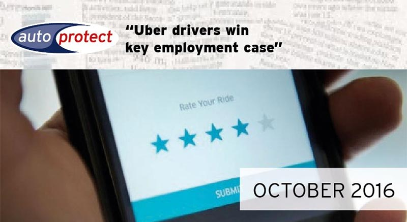 October 2016 - Uber Drivers Win Key Employment Case